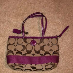 Fuchsia, tan coach purse
